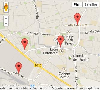 Google Map auto-école st priest dans le rhône