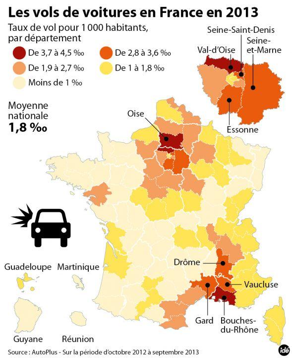 vol de voiture, cartographie, France, département