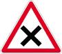panneau de priorité, intersection, marquage au sol